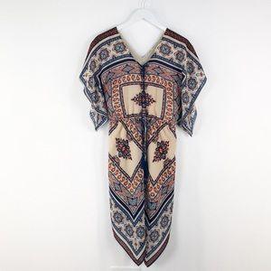 Moon River Blue Orange Handkerchief Print Dress